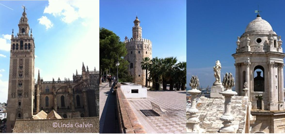 The towers of Seville Cathedarl, Giraldo Tower and Cadiz