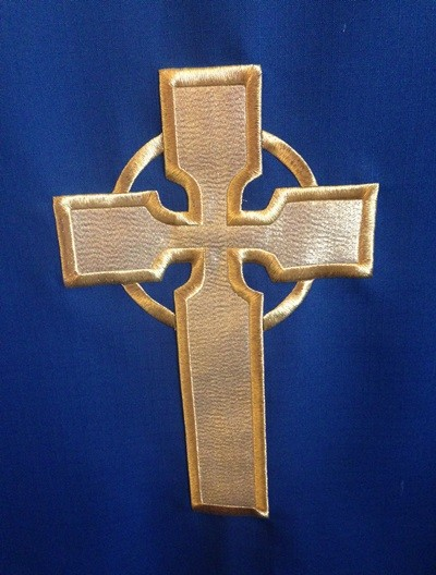 Embroidered cross on altar frontal, St Peter's, Dyrham