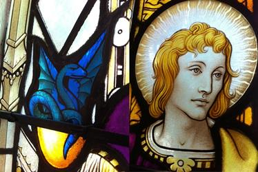 St John the Evangelist Window with close up details of the serpent in the chalice