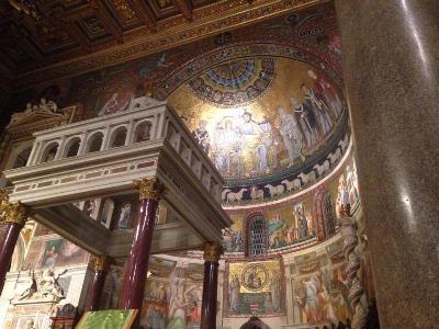 The interior of the church of Sant'Egidio, Trastevere, Rome