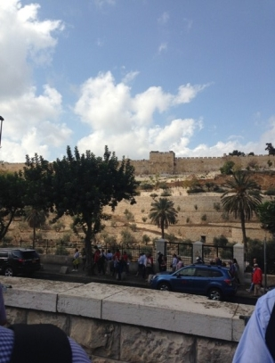 Looking towards the walls of Jerusalem